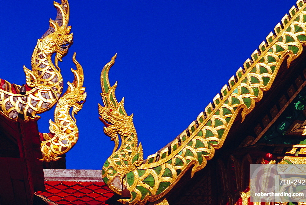 Nagas (sacred snakes) decoration on temple roof, Wat Phrathat Doi Suthep, Chiang Mai, Thailand