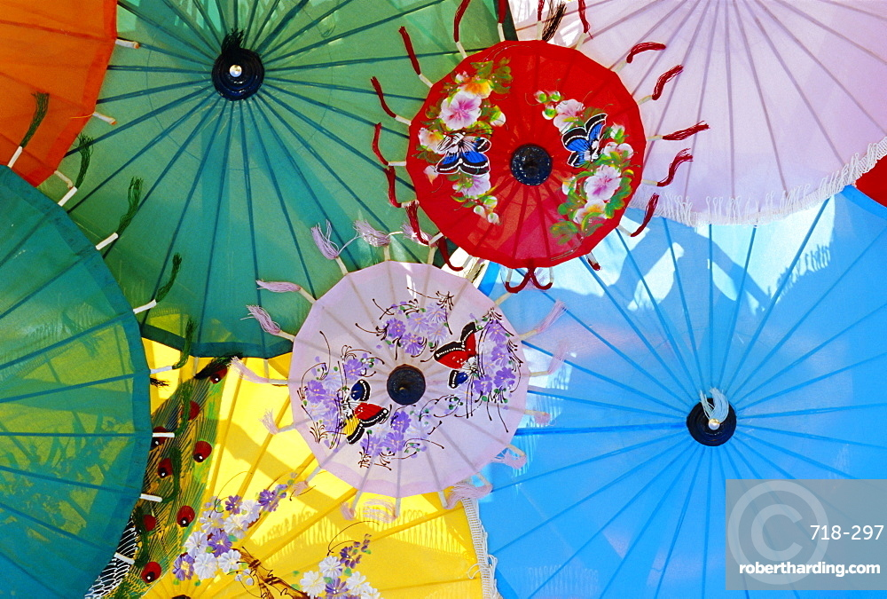 Colourful hand-painted umbrellas, Northern Thailand traditional handicrafts