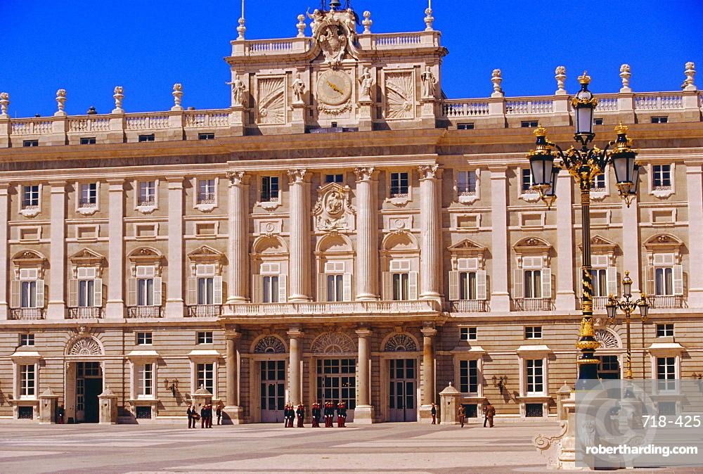 Palacio Real and royal guards on parade, Baroque Spanish architecture, Madrid, Spain
