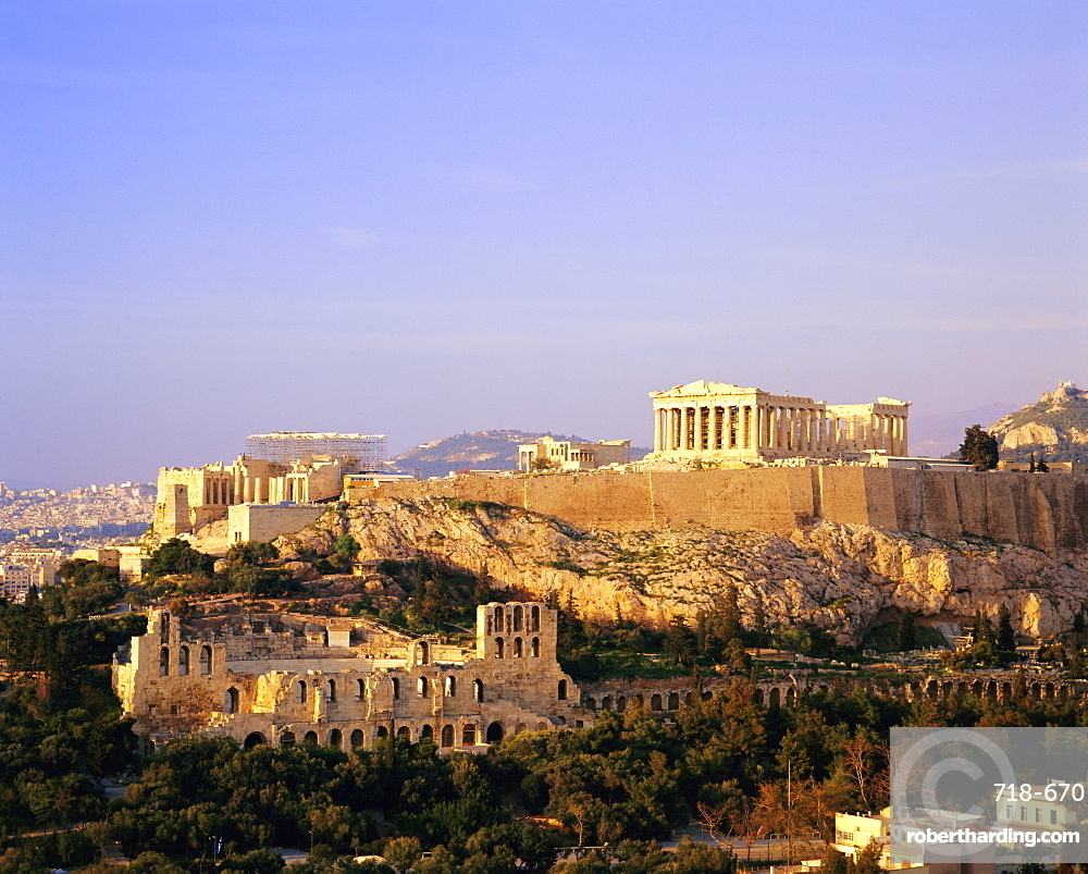 View of the Parthenon and the Acropolis seen from Filopappos Hill, Athens, Greece