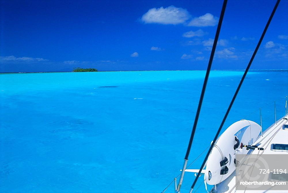 On board 'Milena I', Lagoon 570, Society Islands archipelago, French Polynesia, Pacific