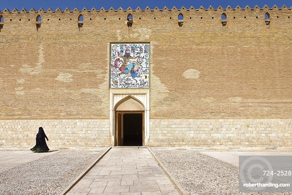 The Karim Khan Castle, panel of tiles above the entrance to the citadel, Rostam killing the white demon, Shiraz, Iran, Middle East