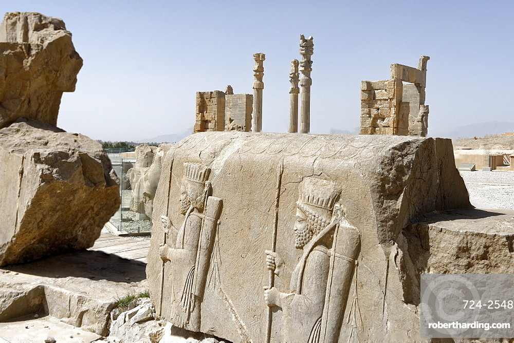 Bas relief of Persian soldiers, Persepolis, Iran, Middle East