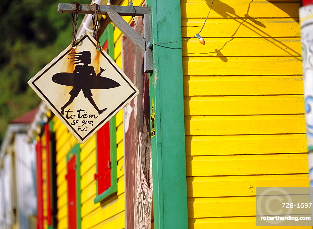 Surfer Sign-Totem, St. Barthelemy, French West Indies