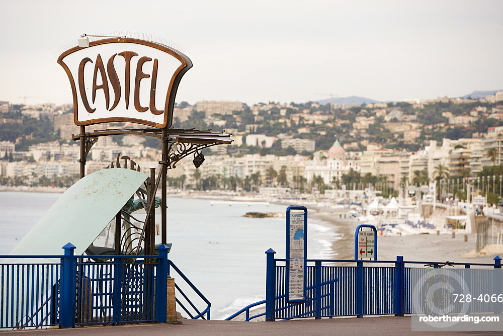 Empty beach and Castel sign, Nice, Alpes Maritimes, Cote d'Azur, French Riviera, Provence, France, Mediterranean, Europe