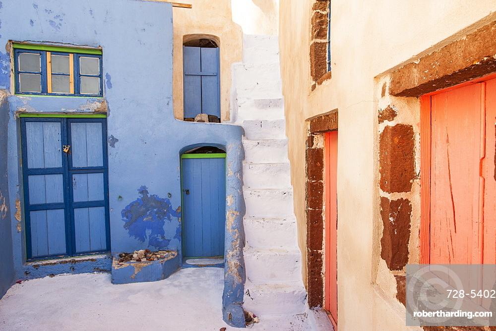 Painted buildings, Oia, Santorini, Cyclades, Greek Islands, Greece, Europe
