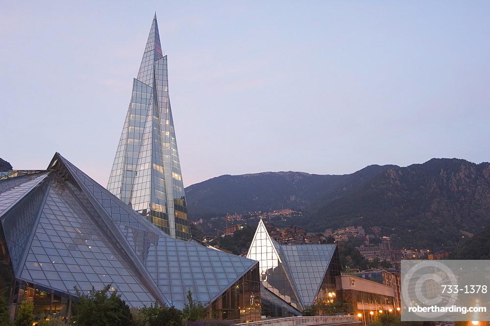 Caldea Hot Spring Complex lit up in the evening, Andorra La Vella, Andorra, Europe