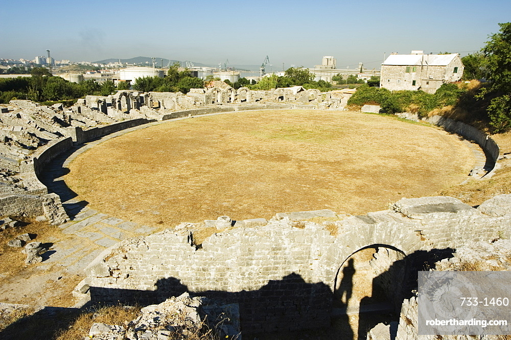 Walls of 2nd century amphitheatre at archaeological ruins of Solin (known as Salona by the Romans), Split, Dalmatia Coast, Croatia, Europe