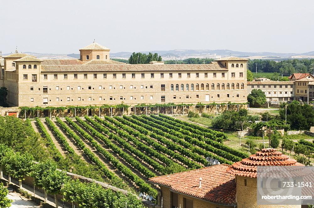 Vineyard and monastery, Olite, Navarra, Euskadi, Spain, Europe