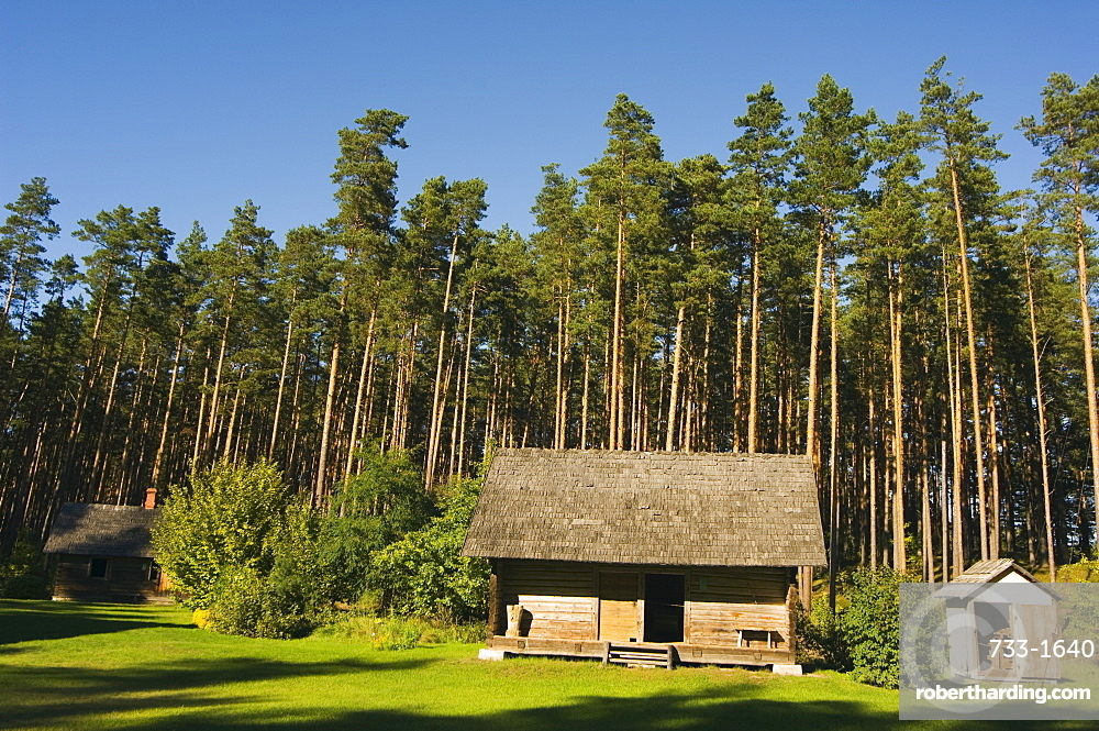 Birchwood roofed house, one of the traditional buildings from rural life in the Latvian Ethnographic Open-Air Museum, Riga, Latvia, Baltic States, Europe