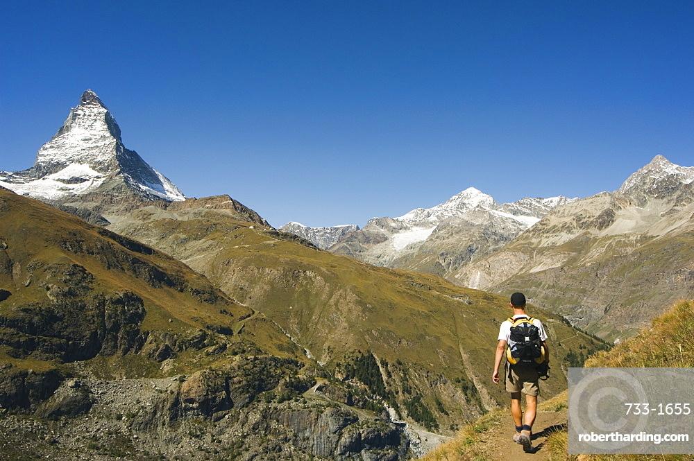 Hiker walking on trail near the Matterhorn, 4477m, Zermatt Alpine Resort, Valais, Switzerland, Europe