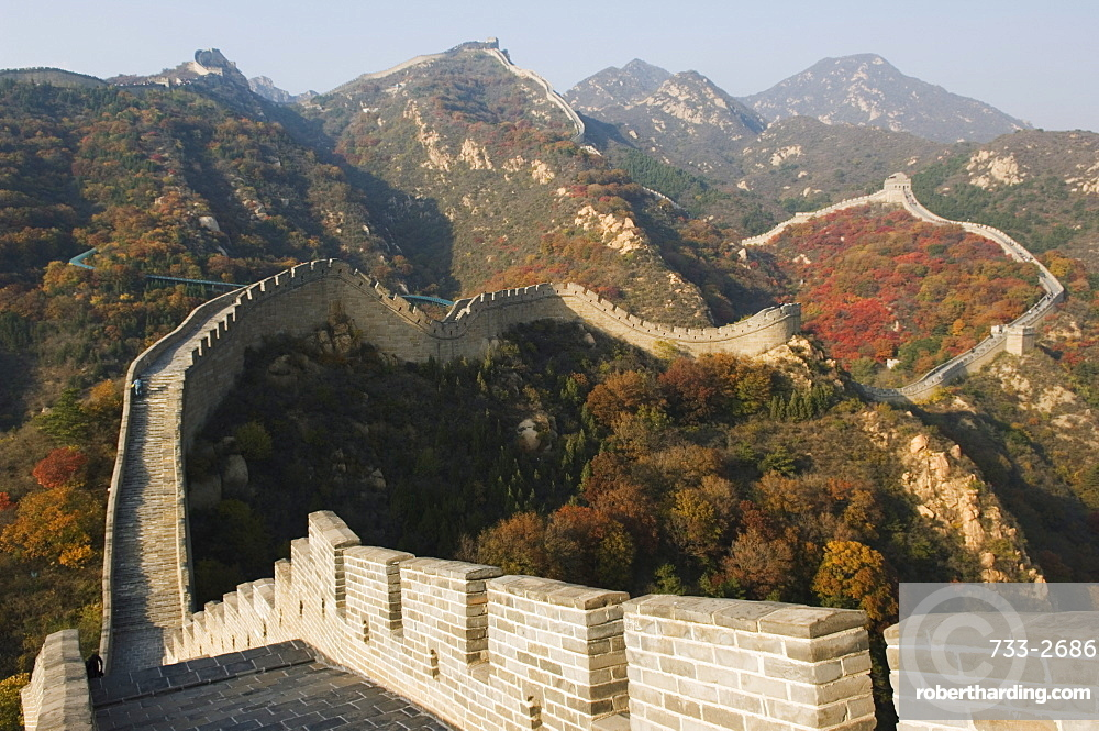 Autumn colours on The Great Wall of China at Badaling, China, Asia