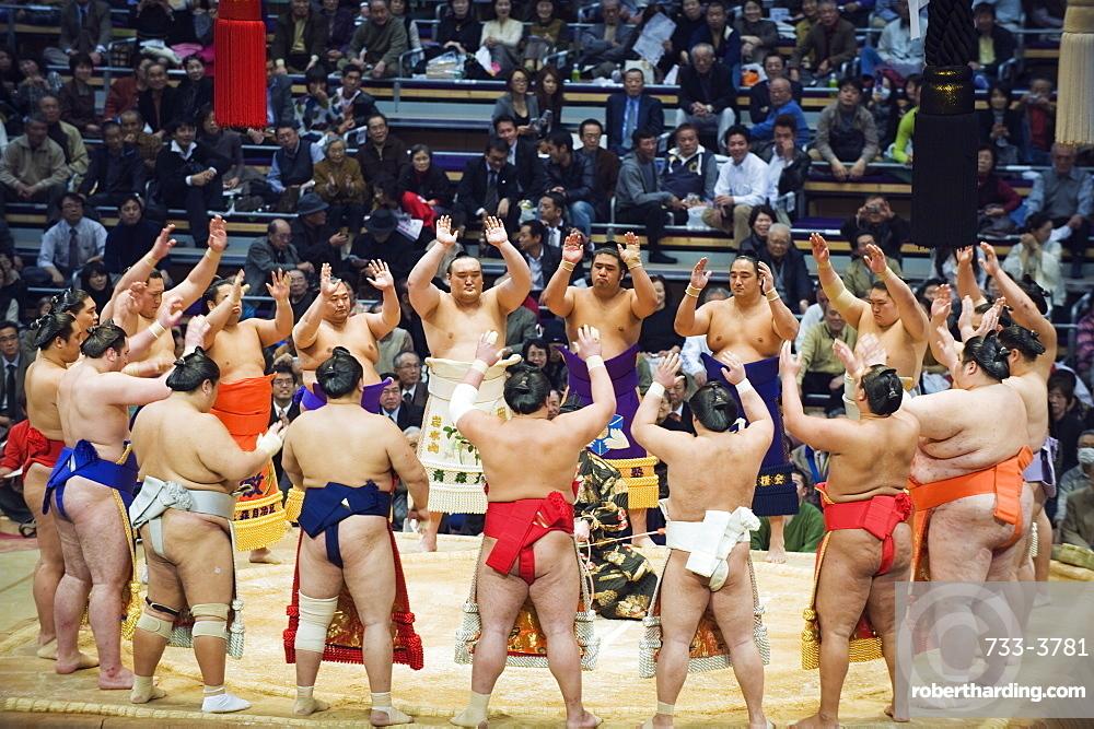 Fukuoka Sumo competition, entering the ring ceremony, Kyushu Basho, Fukuoka city, Kyushu, Japan, Asia