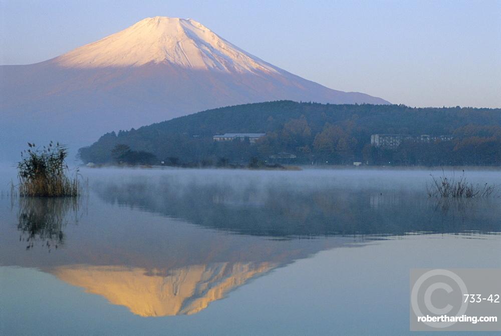 Mt. Fuji and Yamanaka ko (lake), Yamanashi, Japan