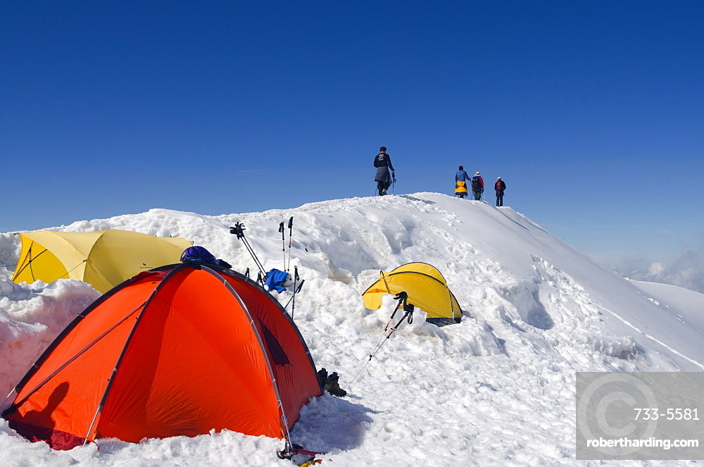 Tents on Mont Blanc, Haute-Savoie, French Alps, France, Europe