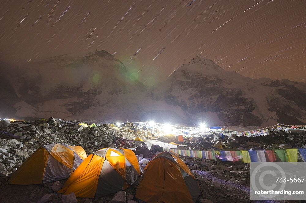 Tents at Everest Base Camp at night, Solu Khumbu Everest Region, Sagarmatha National Park, UNESCO World Heritage Site, Nepal, Himalayas, Asia