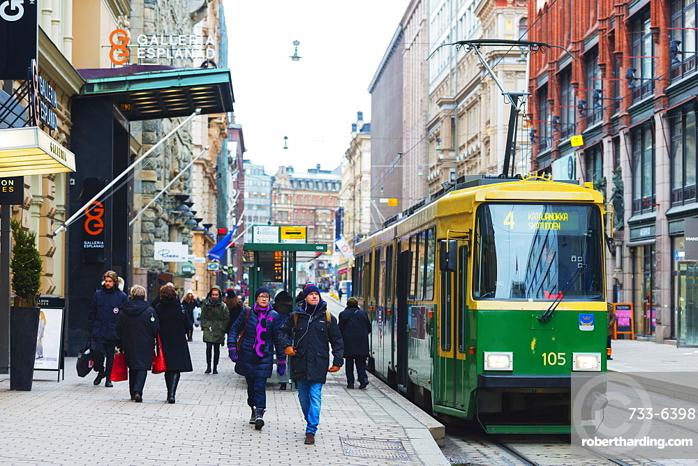 Downtown tram, Helsinki, Finland, Scandinavia, Europe