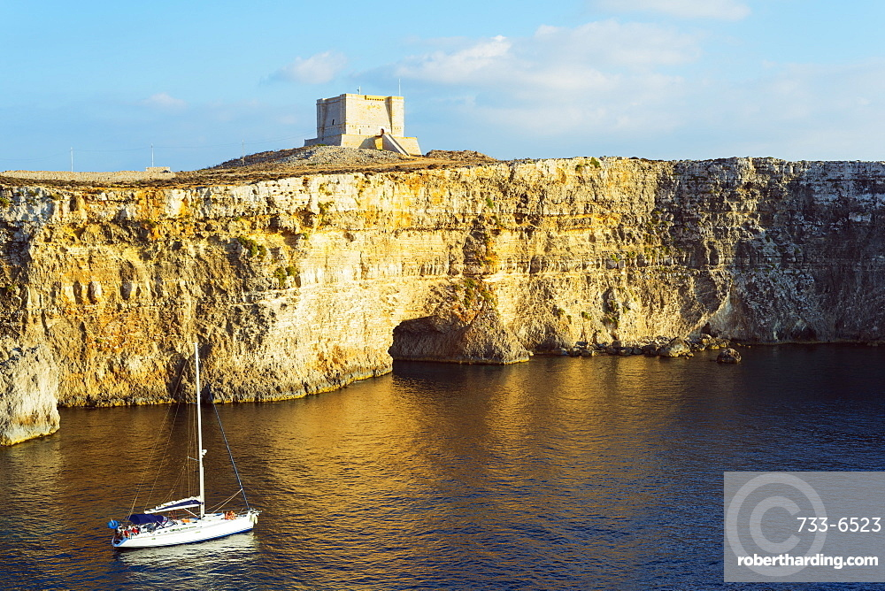 Cliff top watch tower, Comino island, Malta, Mediterranean, Europe