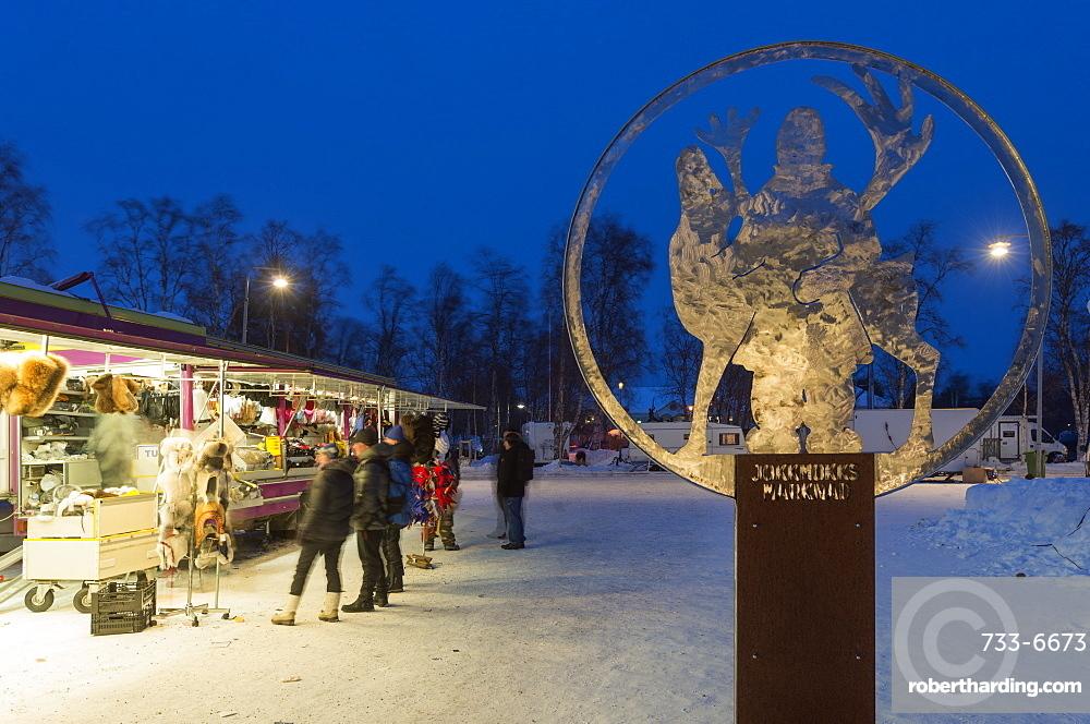 Winter market, Jokkmokk, Lapland, Arctic Circle, Sweden, Scandinavia, Europe