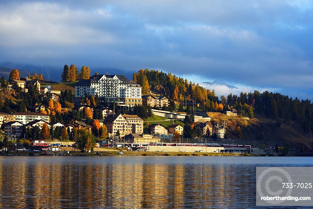 Autumn on the lakeside in St. Moritz, Engadine, Graubunden, Switzerland, Europe
