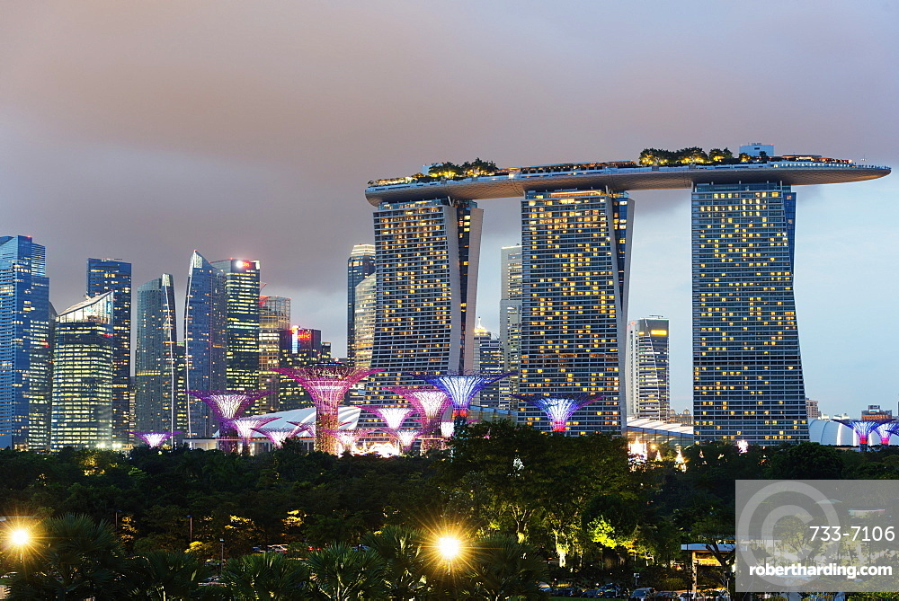 Gardens by the Bay, Supertree Grove and Marina Bay Sands Hotel and Casino, Singapore, Southeast Asia, Asia
