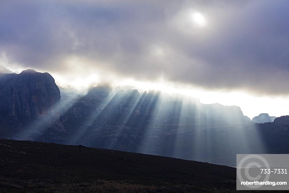 Sunrays breaking through cloud, Andringitra National Park, Ambalavao, central area, Madagascar, Africa