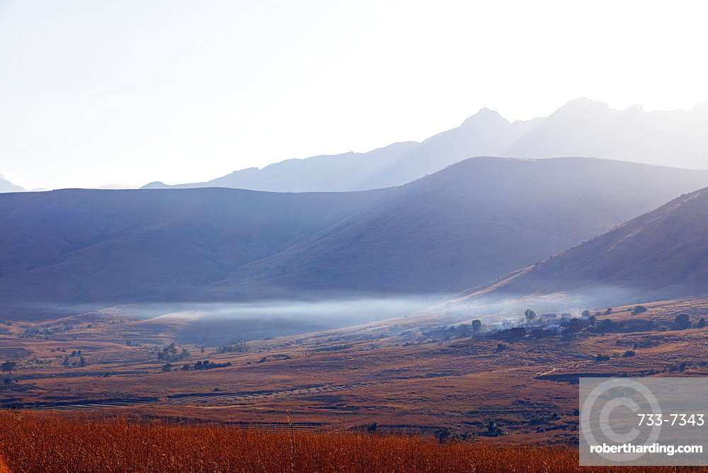 Early morning mist, Tsaranoro Valley, Ambalavao, central area, Madagascar, Africa