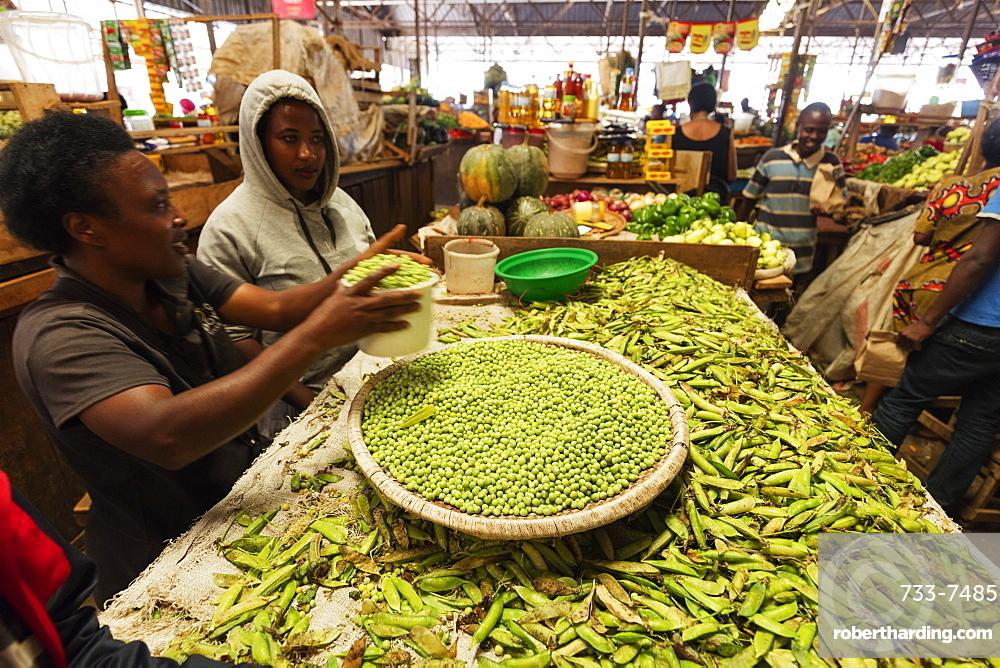 Peas in the fresh produce market, Kigali, Rwanda, Africa