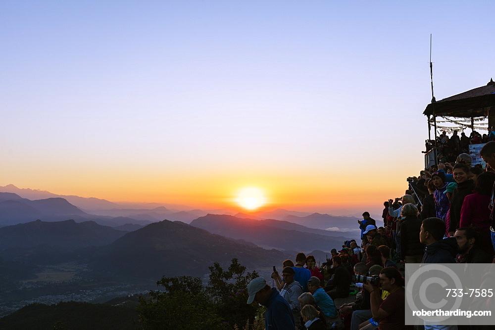Tourists watching sunrise from Sarangkot, Pokhara, Nepal, Asia