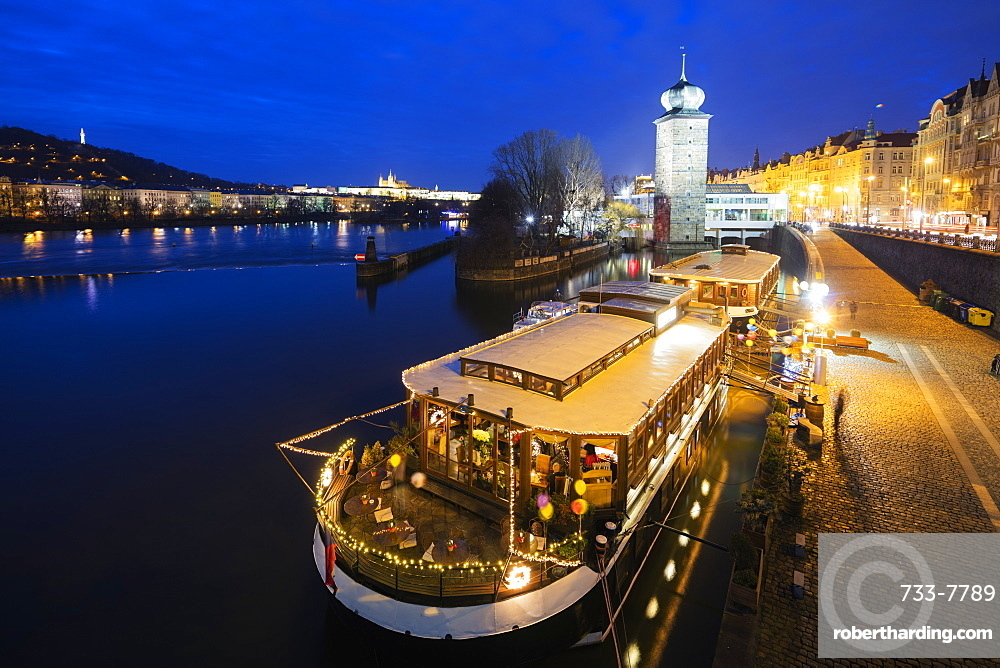 Floating restaurant, Prague, Czech Republic, Europe
