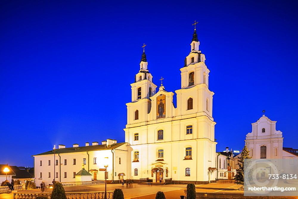 Holy Spirit Cathedral at dusk, Minsk, Belarus, Eastern Europe