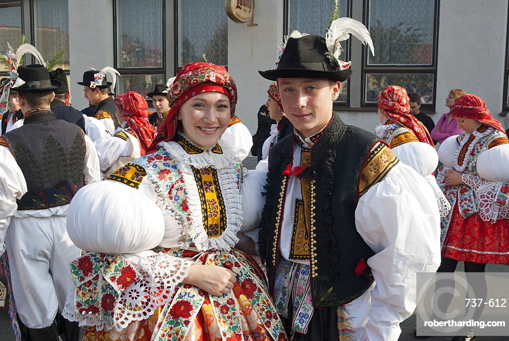 Woman and man wearing folk dress during autumn Feast with Law Festival, Borsice, Brnensko, Czech Republic, Europe