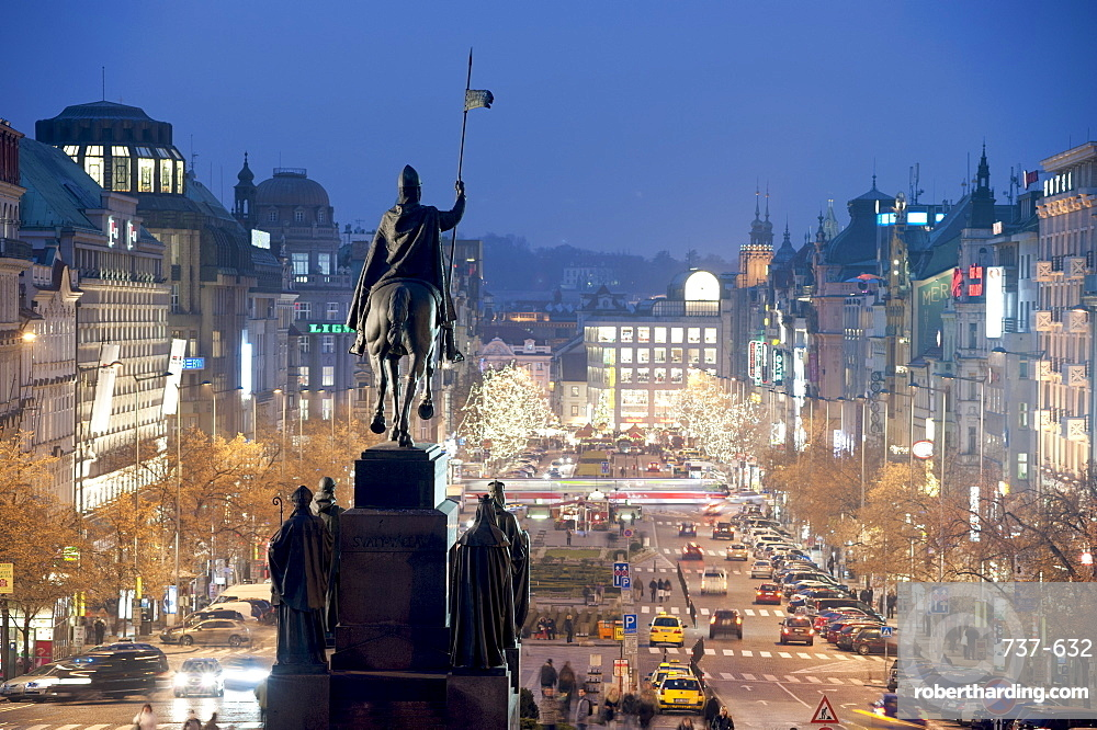Statue of St. Wenceslas and Wenceslas Square at twilight, Nove Mesto, Prague, Czech Republic, Europe
