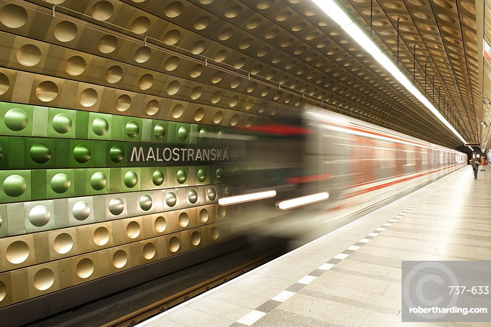 Metro carriages arriving at Malostranska station, Mala Strana, Prague, Czech Republic, Europe