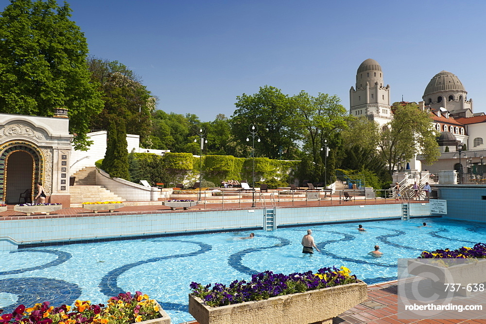 Outdoor pool with people, Gellert Baths, Budapest, Hungary, Europe