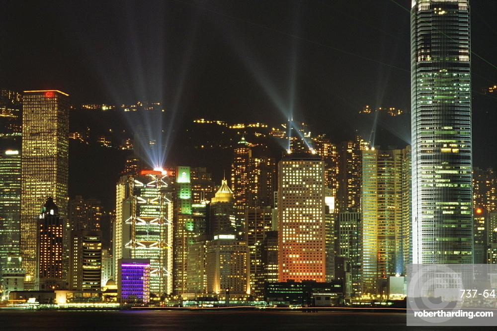 Hong Kong Island Central skyline at night from Tsim Sha Tsui, Hong Kong, China, Asia