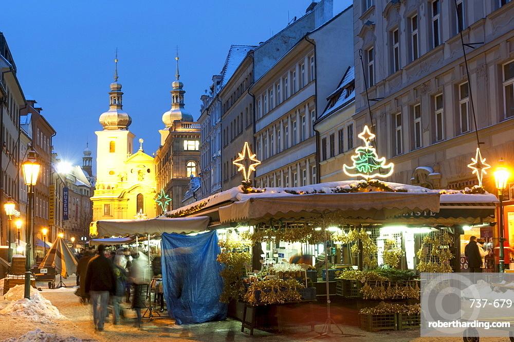 Snow-covered Havelsky Trh during Christmas, Havelska Street, Prague, Czech Republic, Europe