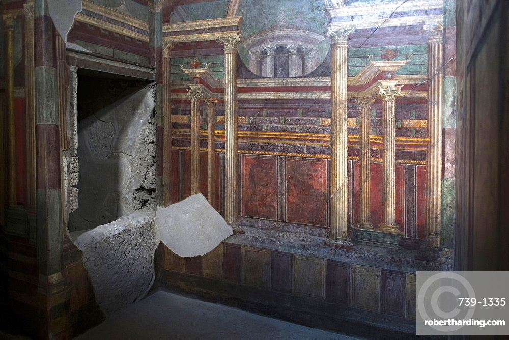 Geometric frescoes of the Cubicola in the Villa dei Misteri, Pompeii, UNESCO World Heritage Site, Campania, Italy, Europe