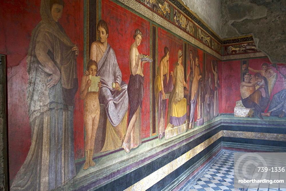 In the Triclinium, Villa dei Misteri, Pompeii, UNESCO World Heritage Site, Campania, Italy, Europe