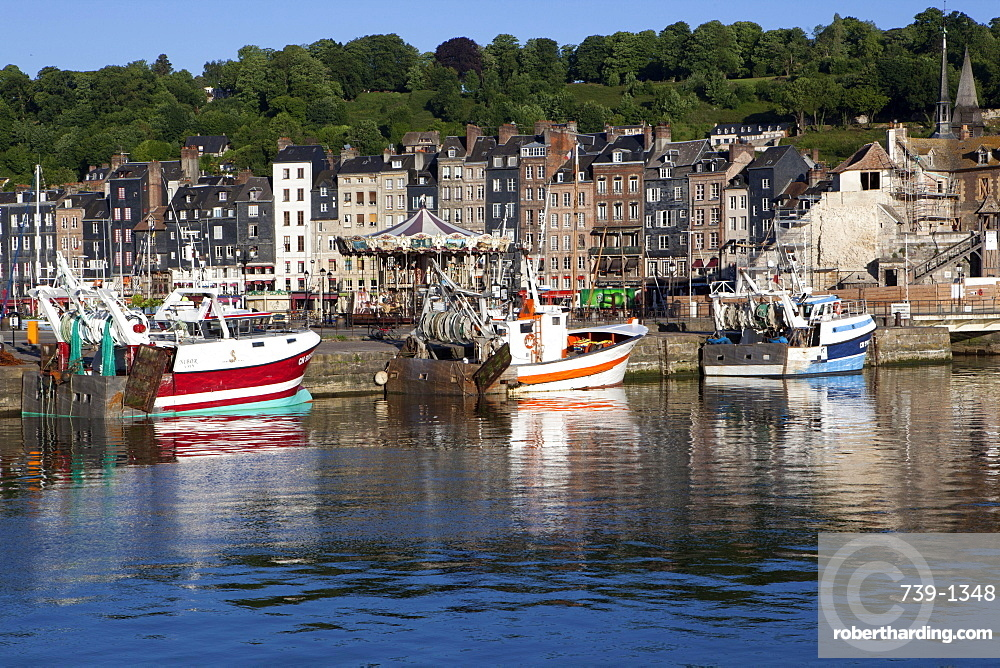 Traditional fishing boats in the harbour of Honfleur, Normandy, France, Europe