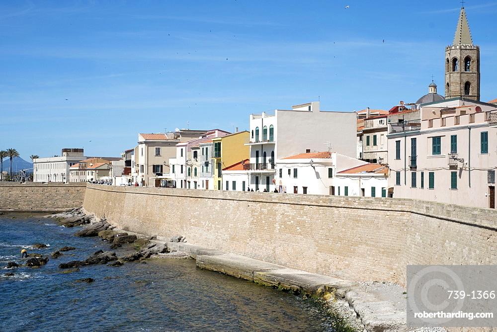 The sea promenade of Alghero, Sardinia, Italy, Mediterranean, Europe
