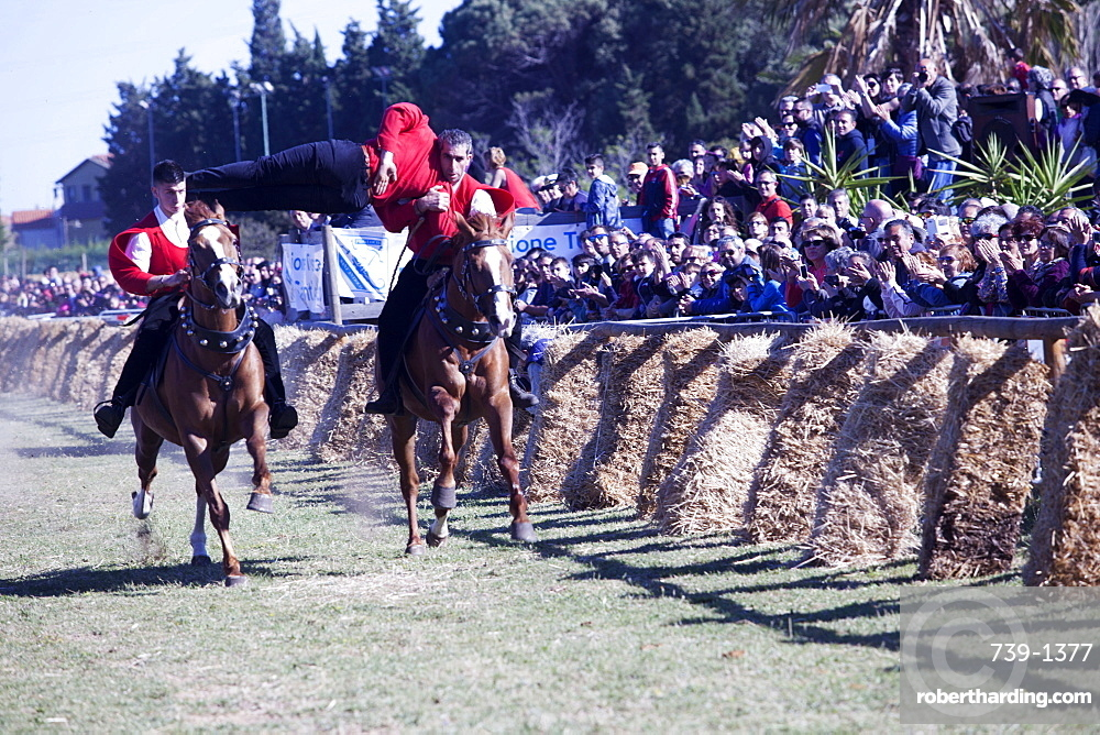 Pariglia equestrian competition for Sant Antioco, Sant'Antioco, Sardinia, Italy, Europe