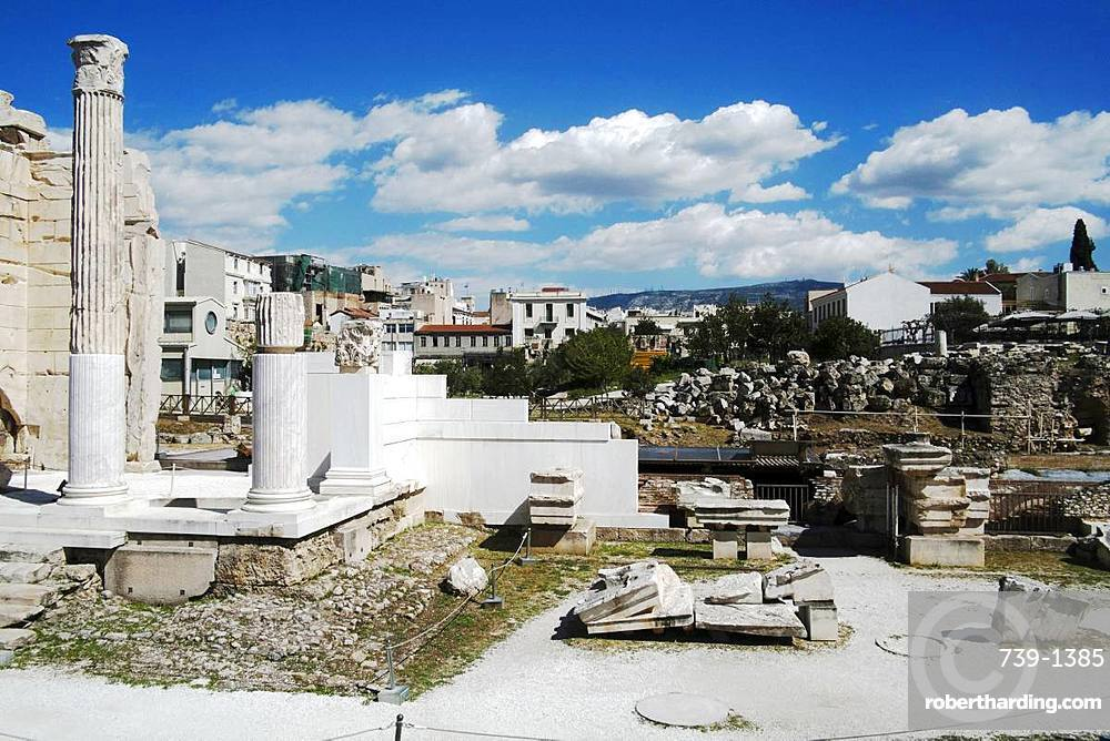 The Roman Agora by the Hadrian Library in the Plaka district, Athens, Greece, Europe