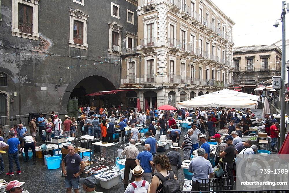 The fish market, Catania, Sicily, Italy, Europe