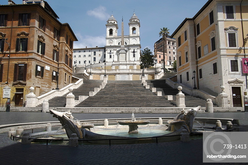 Spanish Steps, deserted due to the 2020 Covid-19 lockdown restrictions, Rome, Lazio, Italy, Europe