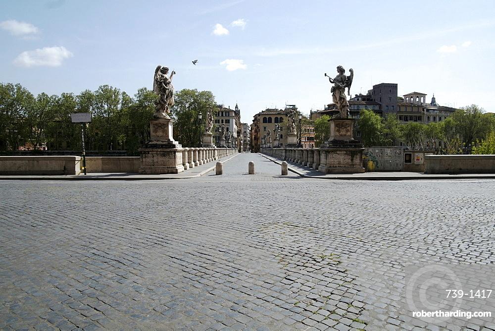 View of Saint Angelo's bridge, during 2020 Covid-19 lockdown, Rome, Italy