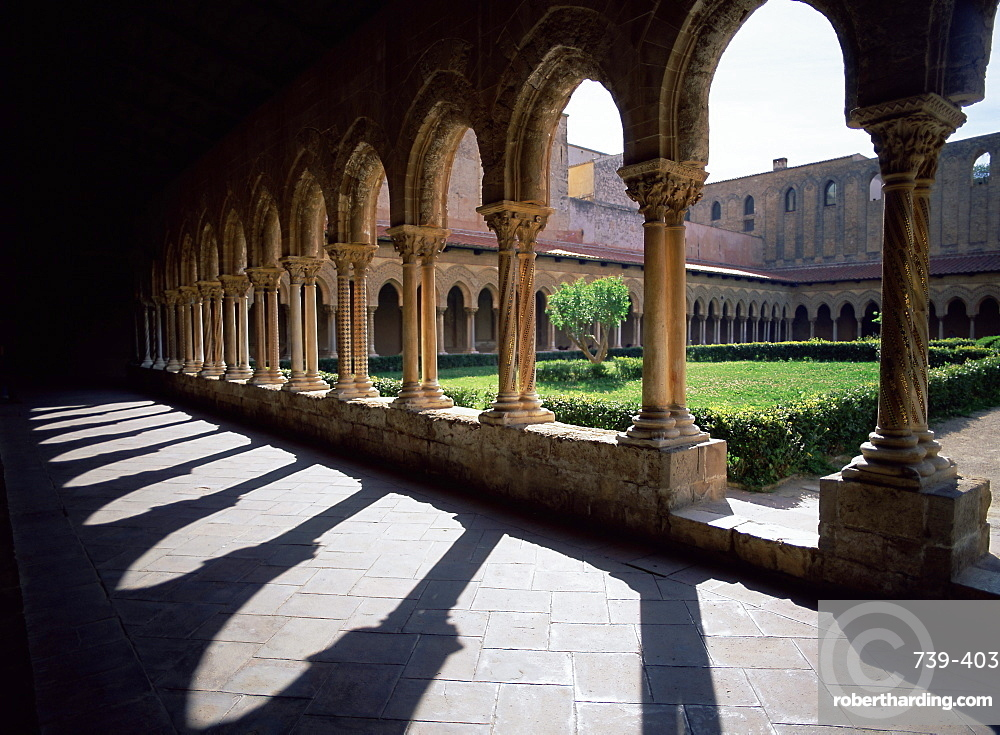 Sunlight and shadows, cloisters, Monreale, Palermo, Sicily, Italy, Mediterranean, Europe
