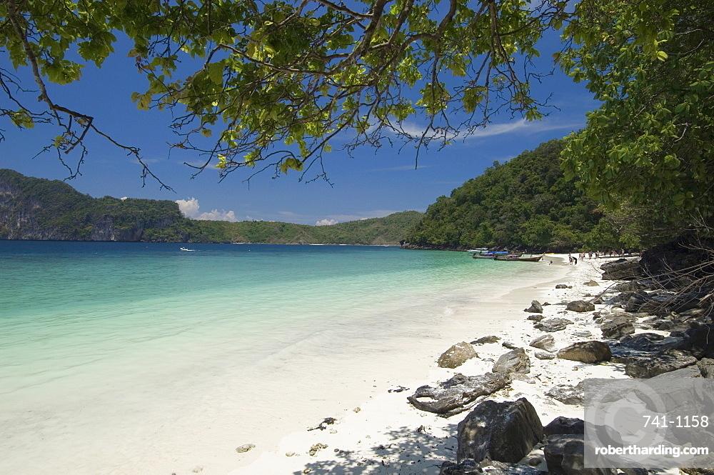 Yong Kasem beach, known as Monkey Beach, Phi Phi Don Island, Thailand, Southeast Asia, Asia