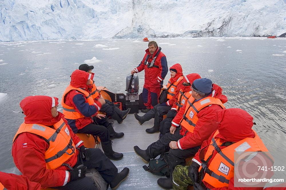 Tourists at Garibaldi Glacier, Darwin National Park, Tierra del Fuego, Patagonia, Chile, South America