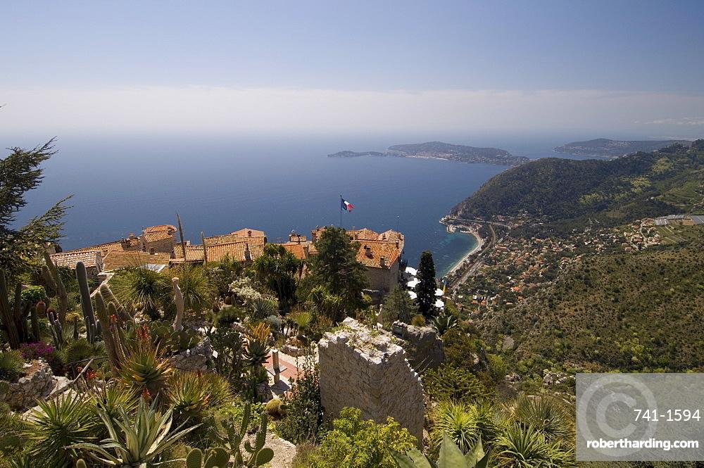 Eze village and Cap Ferrat, Alpes Maritimes, Provence, Cote d'Azur, French Riviera, France, Mediterranean, Europe